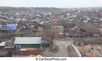 Russian village from moving train