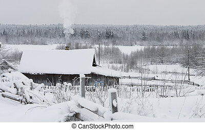Russian village in the winter