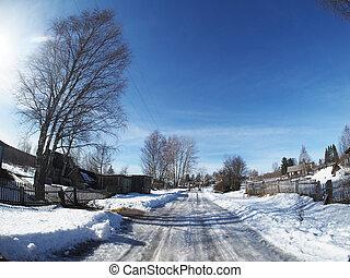Russian village in winter