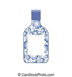 Russian vodka bottle Gzhel painting. National folk alcoholic drink in Russia
