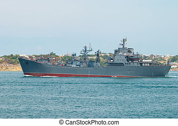 Russian navy warship in the Black sea bay