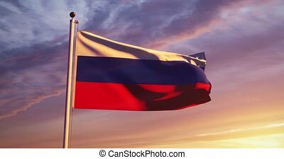 Russian Waving Flag Or Tricolor Of Russia Federation In Moscow. A Pennant Or Insignia Of National Patriotism And Independence - Video 30fps 4k