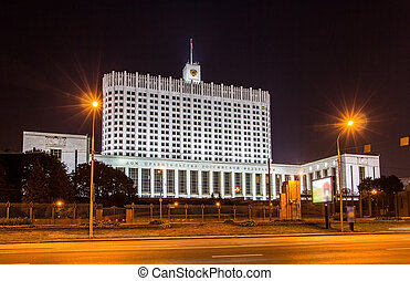Russian White House in Moscow at night