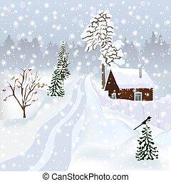 Russian winter landscape - firs, a house, snowfall, snowdrifts, magpies, rowan, road