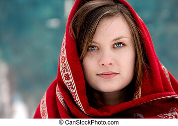 russian woman - face portrait of beautiful girl in russian...
