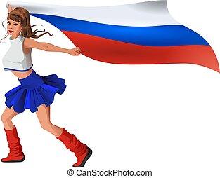 Russian woman fan holding flag. Beautiful girl cheerleader