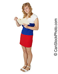 Russian woman reads a book on white background