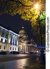 Russia.night street in the downtown and St. Isaac's...