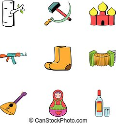 Russians icons set, cartoon style