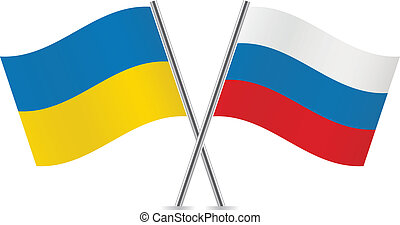 russie, flags., ukraine