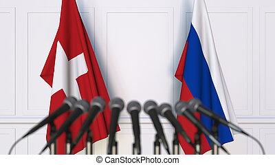 russie, rendre, drapeaux, suisse, international, conference., réunion, ou, 3d