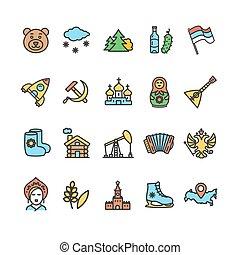 russie, voyage tourisme, couleur, ligne mince, icône, set., vecteur
