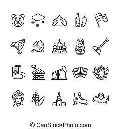 russie, voyage tourisme, noir, ligne mince, icône, set., vecteur