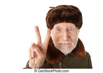 russische , man, in, vacht, pet, vervaardiging, vrede teken