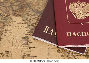 russische, Reisepässe, Landkarte