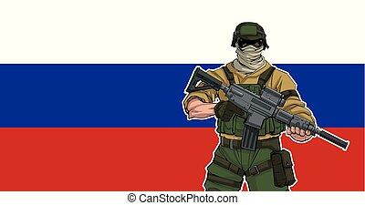 russische , soldaat, achtergrond