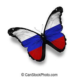 russische vlag, witte , vrijstaand, vlinder