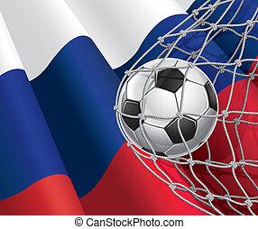 russische , voetbal, vlag, bal
