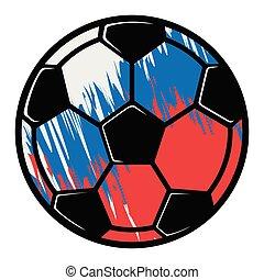 russische , voetbal, vlag, bal, textured