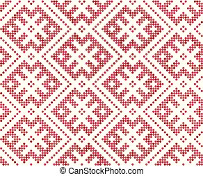 russische , willekeurig, toevallig, traditionele , ornament., slavisch, seamless, palet, four-color, framboos, order