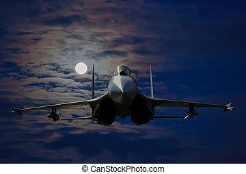 russisk, militær flyver, ind, den, himmel