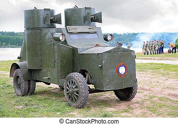 russisk, pansret, automobilen, ind, militær, forevise, af, først, verden, krig