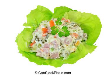 russisk, traditionelle, salat, olivier