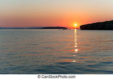 Russky island, Japan sea at colorful sunset