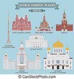 russland, berühmt, orte, moskauer