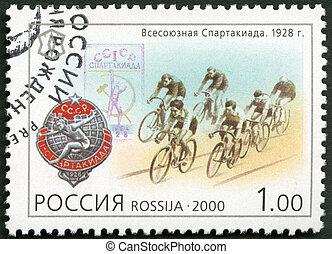 russland, -, zirka, 2000:, a, briefmarke, gedruckt, in,...
