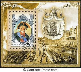 russland, -, zirka, 2004:, a, briefmarke, gedruckt, in,...