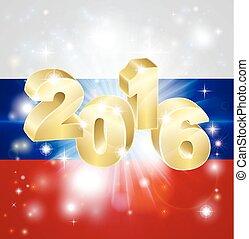 russo, 2016, bandiera, concetto