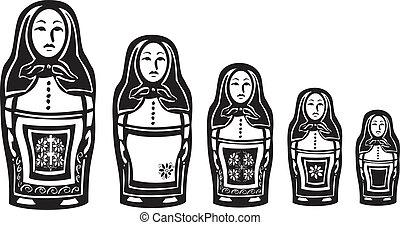 russo, annidato, parecchi, bambole
