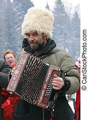 russo, camponês, tocando, accordeon
