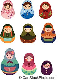 russo, caricatura, bonecas