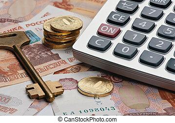 russo, dinheiro., bens imóveis, conceito