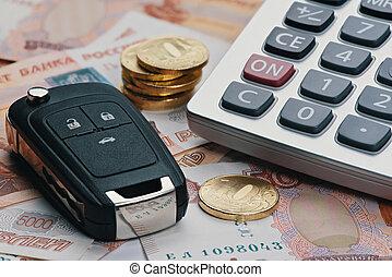 russo, dinheiro, calculadora, e, tecla, de, carro.