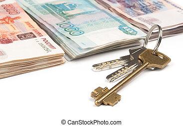 russo, dinheiro, e, teclas