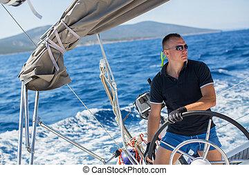 russo, durante, raça, yachtsman