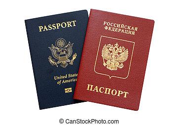 russo, e, americano, passaporti
