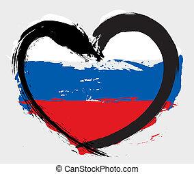 russo, forma coração, bandeira