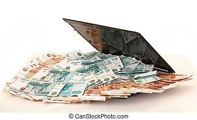 russo, grande, laptop, mucchio, soldi