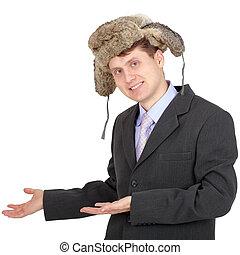 Engraçado, hospitaleiro, pele, homem negócios, chapéu