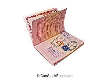 russo, internacional, visto, passaporte, egípcio