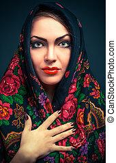 russo, mantô, mulher, deslumbrante