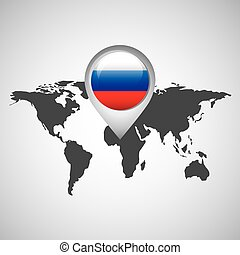 russo, mapa, bandeira, ponteiro, mundo