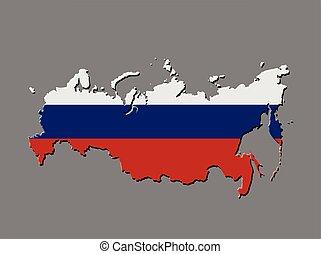 russo, mapa, bandeira, vetorial, rússia