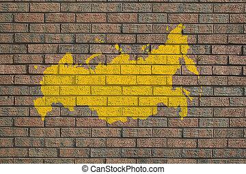 russo, mapa, parede
