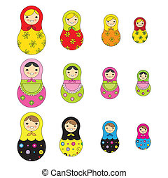 russo, modello, bambola