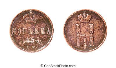russo, moeda, antigas, isolado